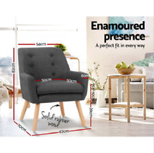 Armchair Tub Dining Chair Fabric Charcoal Living Room Single Accent Chair Lounge