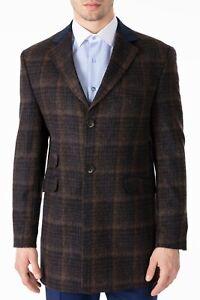 Jack Martin - Peaky Blinders Brown & Navy Check Tweed Wool Overcoat