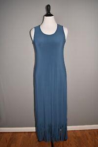 ATTITUDES BY RENEE NEW $45 Sleeveless Maxi Dress w/ Fringe Ink Medium