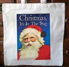 Vintage Santa la bolsa de asas algodón Estacional Navidad reutilizable no.2