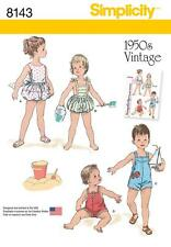 SIMPLICITY SEWING PATTERN BABIES 1950's VINTAGE SET OF ONE-PIECE PLAYSUITS 8143
