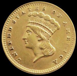 1856 GOLD US PRINCESS HEAD $1 DOLLAR TYPE 3 COIN PHILADELPHIA MINT
