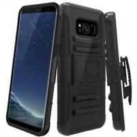 DROP-PROOF HOLSTER CASE HYBRID COVER SWIVEL BELT CLIP for Galaxy S8 Plus Phones