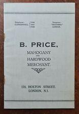 B. Price, Mahogany & Timber Merchant, 118 Hoxton Street, London Trade Catalogue