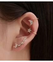 Women Elegant Star Moon Crystal Rhinestone Ear Stud Earrings Fashion Jewelry