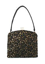 WALDYBAG - Vintage Black Lace & Gold Satin Evening Bag - U.K. - Mid 20th Century
