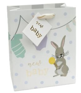 New Baby Bunny Medium Gift Bag with Gift Tag Caroline Gardner Collection