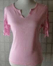 Self Esteem Pink Raw Festival Fringe Fitted Tee Knit Top womens juniors L