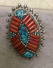 Tibetan Silver Oval Spike Turquoise Chip Coral Ring Size 9,10,11