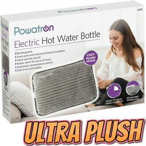 Grey Rechargeable Electric Hot Water Bottle Bed Hand Warmer Massaging Heat Pad