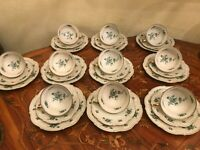 10 Cups 10 Saucers 10 Cake plates VEB R Antique Vintage German Porcelain Set