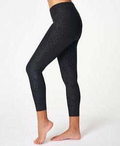 BNWT Sweaty Betty All Day Leggings 7/8 RRP £65 Black Embossed Animal Print Small