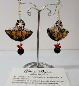 Orecchini pendenti in Ceramica di Caltagirone Corallo Onice