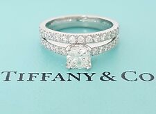 Tiffany & Co NOVO 1.01 ct Platinum Cushion Diamond Engagement Ring Band Set $10k