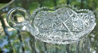 American Brilliant Period Hobstar Sawtooth Cut Candy Dish Glass Nappy with Thumb