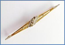 "VINTAGE  ""Art Deco"" Compose 18K Solid Gold BROOCH with FANCY Color DIAMONDS"