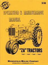 Minneapolis Moline ZA Owner's Operation and Maintenance Manual - reprint
