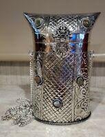 Vintage Sajai Silver Metal Handbag Purse Handcrafted in India Genuine Stones