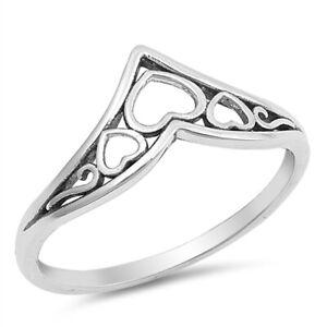 Oxidised 925 Sterling Silver Triple Open Heart Wishbone V Shape Ring J L B P R T