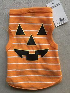 NEW Dog T-Shirt sz Small Orange w/ White Stripes Pumpkin Halloween Costume Shirt