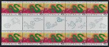 2001 CHRISTMAS ISLAND YEAR OF THE SNAKE GUTTER STRIP OF 10 MINT MNH