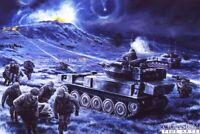 Military Art Post card Falklands war Blues and Royals Scimitar Scorpion tanks