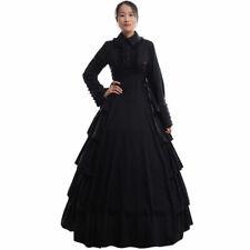 Gothic Women Flounces Reenactment Costume Dress Victorian Black Ball Gown