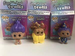 Funko Good Luck Trolls Mystery Minis Bundle Set Of 3 Purple Yellow Hair Wizard