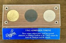 1962 Dodger / Angels Stadium General Admission Coin Token Tickets - Set Of 3