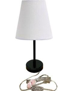 Table Lamp Cone Fabric Shade Retro Nightstand Lamp Living Room