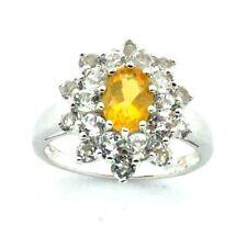 Mujer,9 ct/9 ct oro blanco anillo con Citrino+piedras de circonita,talla RU N