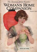 1916 Womans Home Companion August - Packing for a car trip; Screen Lovers;Cherup