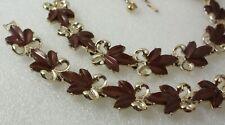 Vintage Signed DODDS Thermoset Brown Leaves Necklace Bracelet Set