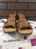 Natural Soul Naturalizer Women's Brown Leather Slip On Open Toe Sandals Size 8.5