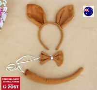 Lady Kid Child Kangaroo Wallaby Costume Ear tail Party Hair head band Prop set