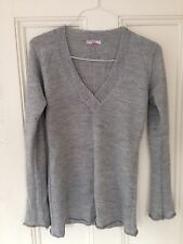 Light Gray Long Sleeve V-Neck Blouse Knit Top Casual Sweater One-Sz Acrylic-Wool