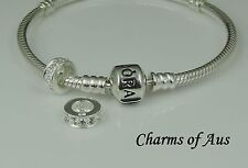 Genuine PANDORA bracelet and S/Silver 925 Clear Stone spacer charm. Christmas!!!