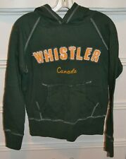 WHISTLER BC Canada Hooded Hoodie Sweatshirt Top SMALL Green Yellow White Women