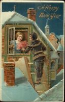 New Year - Boy Climbs Ladder Brings Flower to Girl c1910 Postcard
