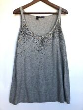 EILEEN FISHER Gray Cashmere Sequin Dress Blouse Top Extra Large XL (K9)