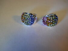 Swarovski® Element multicolor pave Crystal Earring 925 Sterling Silver JCM Hoop