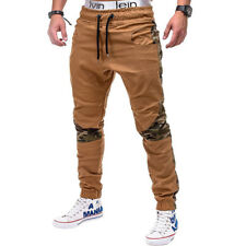 Fashion Camouflage Patchwork Long Pants - Khaki