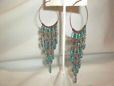 NEW B & I GOLD TONE CHAIN WITH TURQUOISE BEADS PIERCED EARRINGS  /   PRETTY