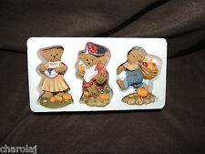 "Homco/Home Interiors ""Fall Harvest Bears"" Nib #11768 Apples Pumpkins Grapes"