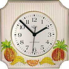 215342F Keramik Küchenuhr Artline quadrat m.Streifen Früchte handbemalt Funkuhr
