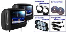 "Pair 9"" HD Detachable Touch Screen Headrest DVD Player Monitors USB SD Headphone"