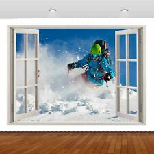 Extreme Sports Snowboard Skiing 3D Mural Decal Wall Sticker Poster Vinyl S317