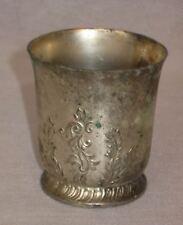 Vintage Occupied Japan Silver Metal Embossed Flowers Small Cup