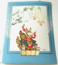 Vintage Christmas Card Bunny Squirrel Chipmunk Toboggan Sledding Kathy Lawrence