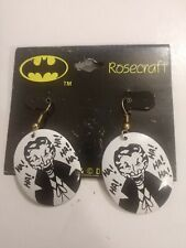 Vintage Haha The Joker Dangle Earrings - Batman 1989 VTG Costume Jewelry DCU